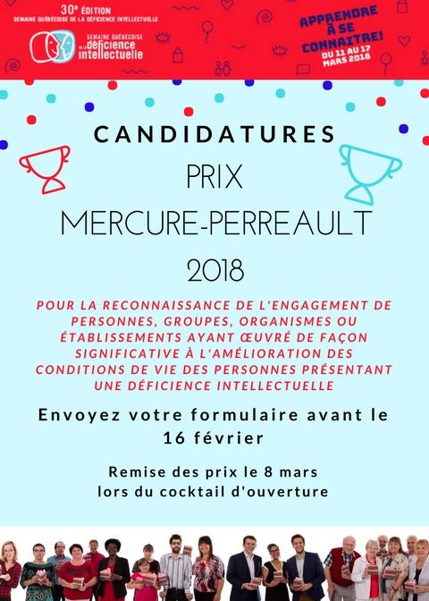 Mise en candidature pour les Prix Mercure-Perreault