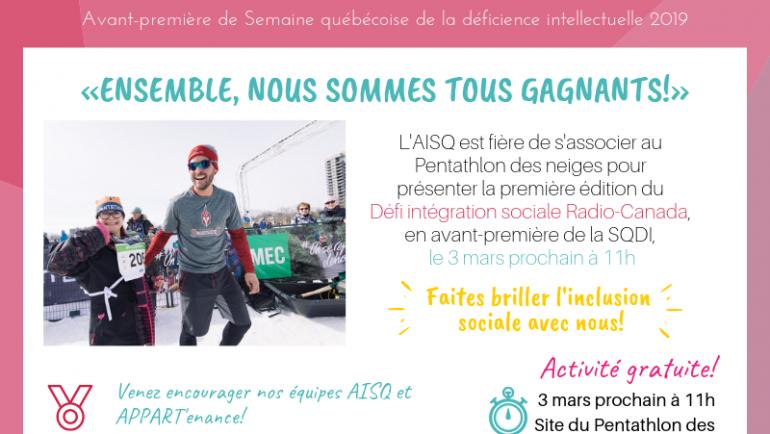 Défi intégration sociale Radio-Canada – prologue 31ème édition SQDI