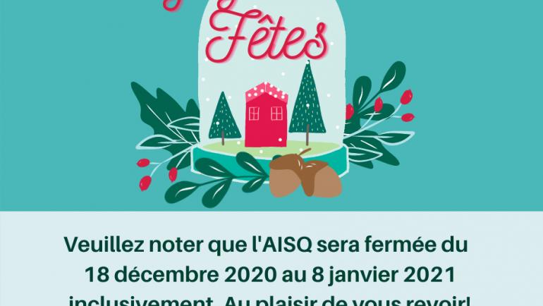 Meilleurs vœux et congés à l'AISQ